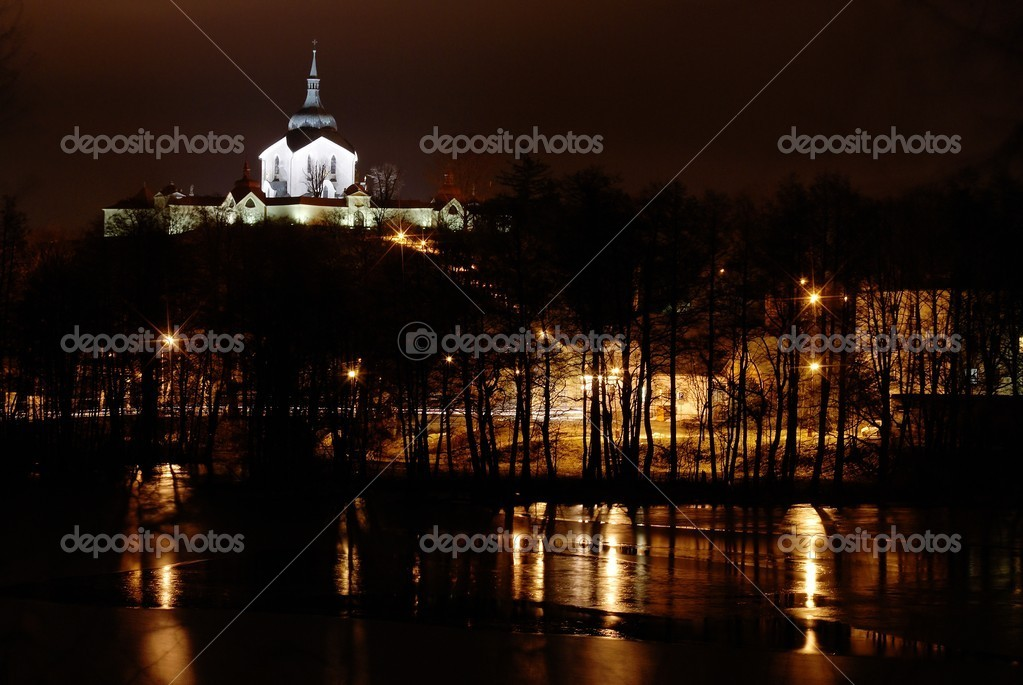 Pilgrimage church zelena hora - green hill - monument unesco - night wiev  — Stock Photo #9632085