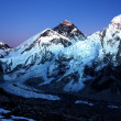 Stock Photo: Nightly view of Everest and Nuptse from KalPatthar