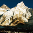 view of everest and nuptse from kala patthar — Stock Photo