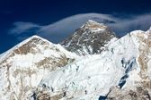 Everest from way to everest base camp with cloud -khumbu valley - Neepal — Stock Photo