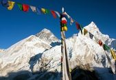 View of Everest with buddhist prayer flags from kala patthar — Stock Photo