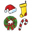 Illustration of Christmas items — Imagen vectorial