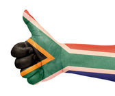 South Africa flag on thumb up gesture like icon — Stock Photo