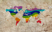 Rainbow color painted world map — Stock Photo