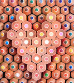 Colorful wooden pencil in heart shape — Stock Photo