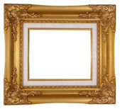 Empty luxury gold wooden frame isolated — Stock Photo