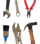 Grunge dirty old home tools hammer, brush, pincers, wrench — Stock Photo