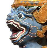 Antieke thaise blauw gezicht aap standbeeld op wat pra kaew — Stockfoto
