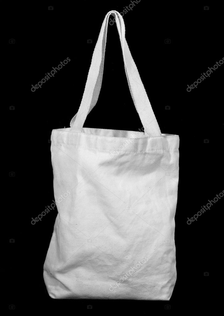 White recycle cotton bag on black — Stock Photo #8607062