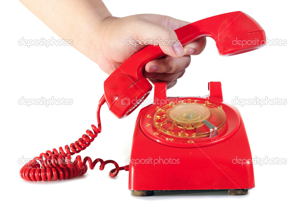 Classic 1970 - 1980 retro dial style red house telephone — Stock Photo #8607474