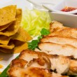 Stock Photo: Chicken nacho on white plate