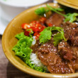 Spicy chinese beef stew with rice — Stockfoto