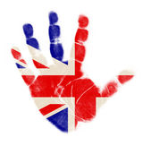 England flag palm print isolated on white background — Stock Photo