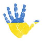 Ukraine flag palm print isolated on white background — Stock Photo
