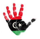 Libya flag palm print isolated on white background — Stock Photo