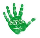 Saudi Arabia flag palm print isolated on white background — Stock Photo