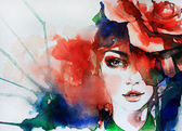 Creative hand painted fashion illustration — 图库照片