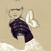 Fashion illustration of a young girl — Stock Photo