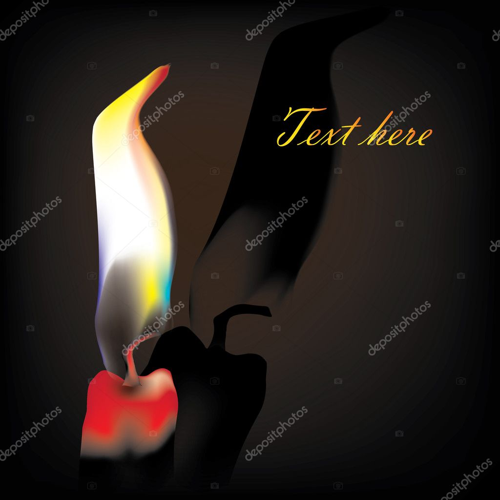 Vector illustration. Candle with fire on black background.  — Stok Vektör #9823943