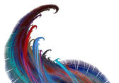 在白色背景上的题录分形彩色波 — 图库照片