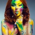 Portrait of beautiful girl with creative bodyart — Stock Photo