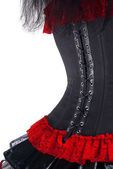 Black and red corset isolated over white background — Stock Photo