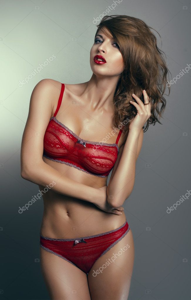 Sexy woman in red lingerie — Stock Photo #10244520