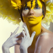 Creative beauty shot with headdress — Photo