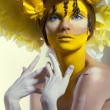 Creative beauty shot with headdress — Stock Photo