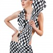 Young woman in checkered suit over white — Stock Photo