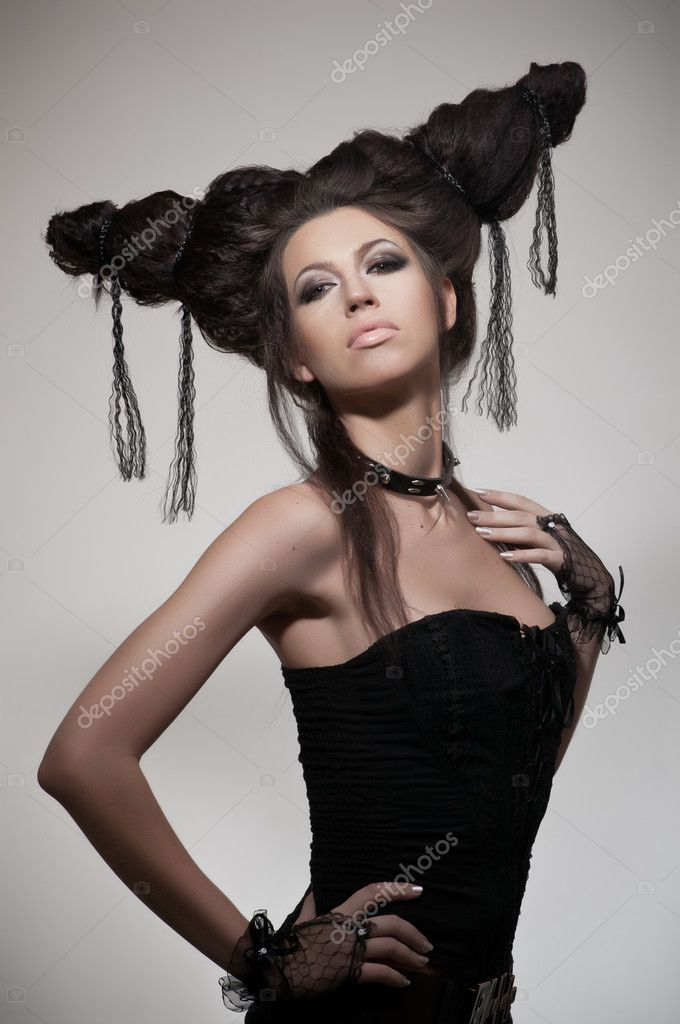 Creative potrait of woman with hairstyle — Stock Photo #10258077