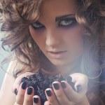 Studio beauty portrait with mulberry — Stock Photo