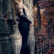 Gothic blond woman in black dress - Lizenzfreies Foto