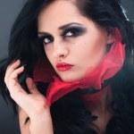Studio beauty portrait of sexy brunette — Stock Photo