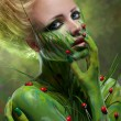 Creative beauty shot with body-art - Foto Stock