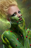 Creative beauty shot with body-art — Stock Photo