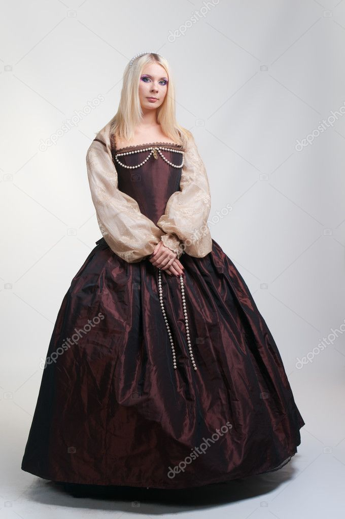 Girl in medieval beautiful dress  Stock Photo #10338719