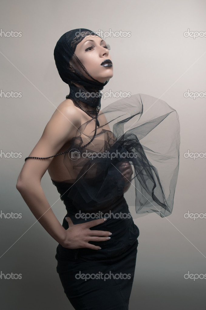Glamoure gothic fashion woman in black dress  Stock Photo #10338899