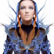 Futuristic girl with blue and orange energy flows. Art concept — Lizenzfreies Foto