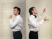 Handsome man in white shirt. Studio white background — Stock Photo