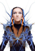 Futuristic girl with blue and orange energy flows. Art concept — Zdjęcie stockowe
