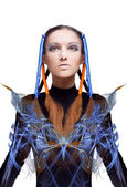Futuristic girl with blue and orange energy flows. Art concept — ストック写真