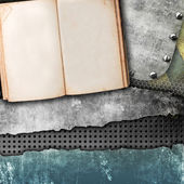 Grunge background with open book — Stock Photo