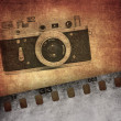 Vintage background, old film camera - Stock Photo