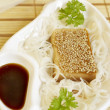 Marinaded tofu with rice noodles — Stock Photo
