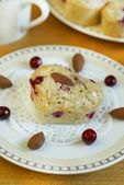 Muffins with almonds and cowberries in Valentine day — Stock Photo