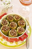 Zucchini stuffed with forcemeat and rice — Stock Photo