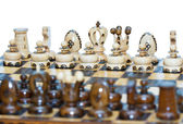 Chess board focus to white king and queen — Stock Photo
