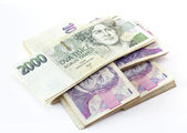 Czech banknotes nominal value one and two thousand crowns — Stock Photo