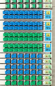 Rejilla óptica de fibra con alta densidad de conectores sc azul y verde — Foto de Stock